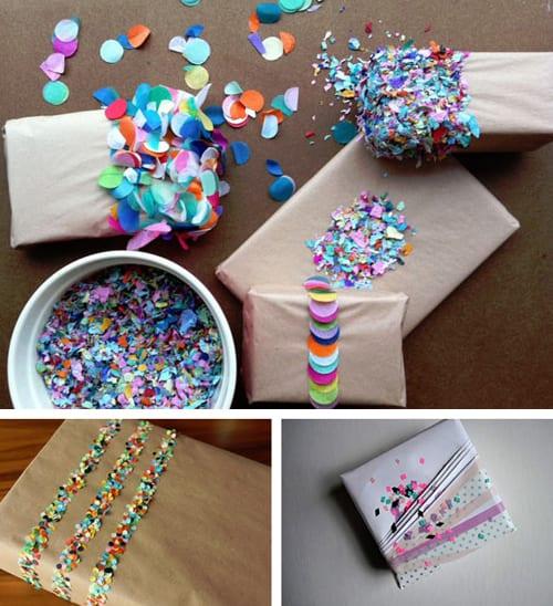 Decoraci n de regalos con confetti - Decoracion para regalos ...