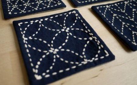 Bordar posavasos con técnica de bordado japonesa: Sashiko