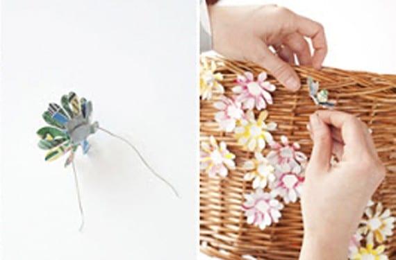 Decoración cesto de mimbre con flores de aluminio