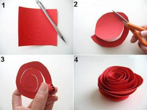 Rosa simple con papel
