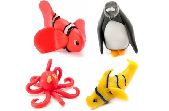Animales marinos hechos con plastilina