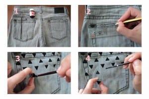Proceso pantalón estampado geométrico