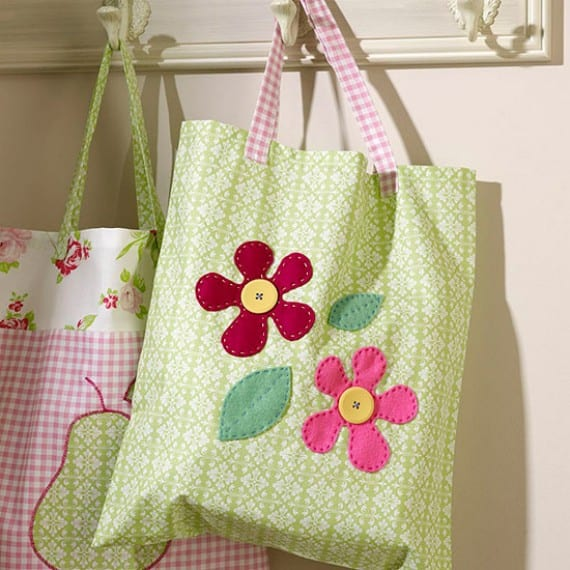 Bolsa De Tela Para La Compra Con Flores
