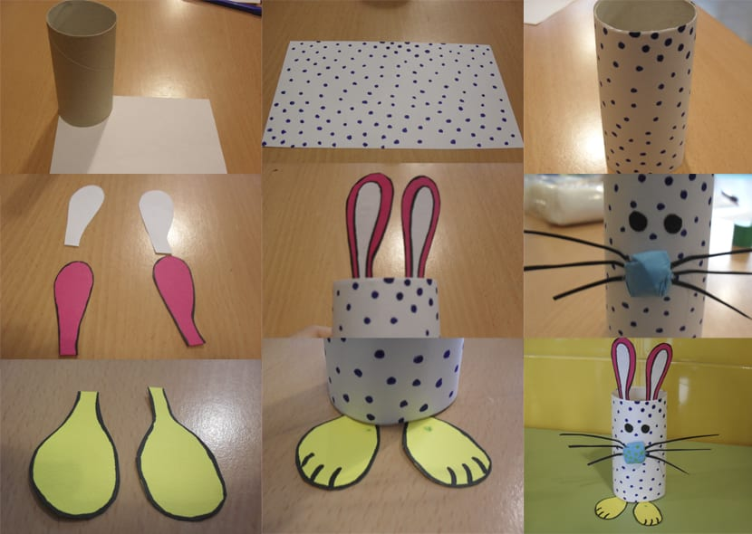 diy conejo de pascua con rollo de papel. Black Bedroom Furniture Sets. Home Design Ideas