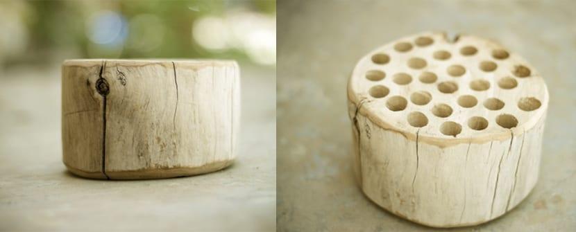 Lapicero con taco de madera