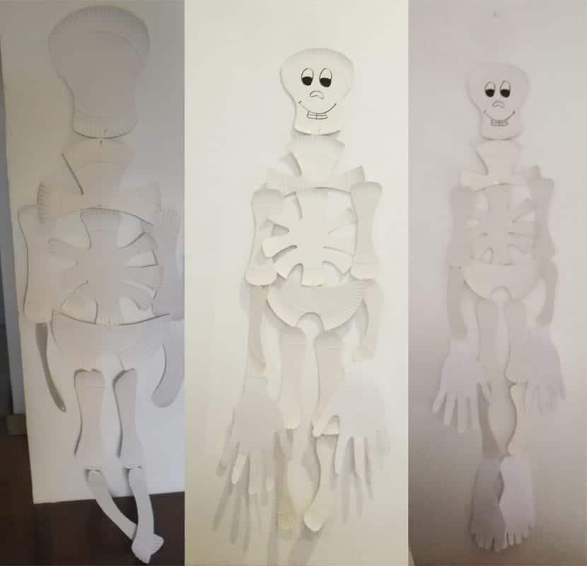 Esqueleto con platos para halloween