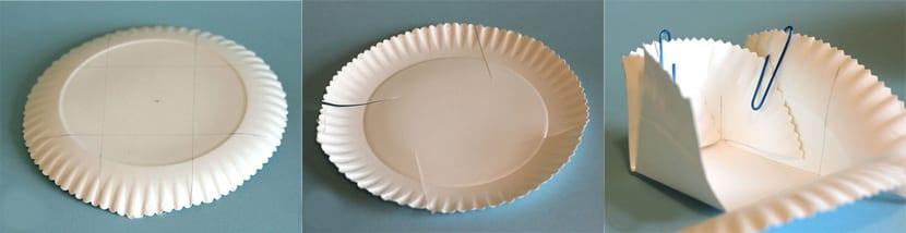 Cestas con platos de cartón