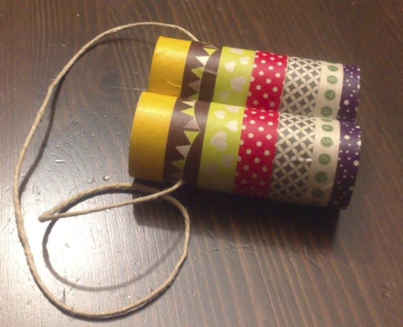Prismáticos de cartón y washi tape