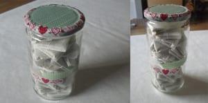 Tarro de cristal decorado con washi tape