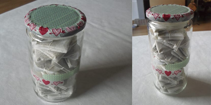 Tarro de cristal decorado con washi tape