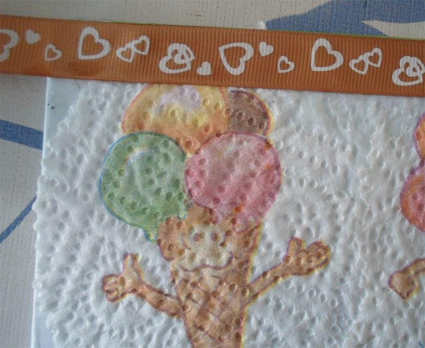 Libreta decorada con decoupage cinta