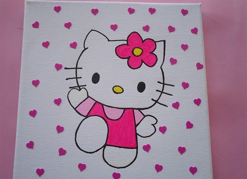 Lienzo pintado a mano con hello kitty