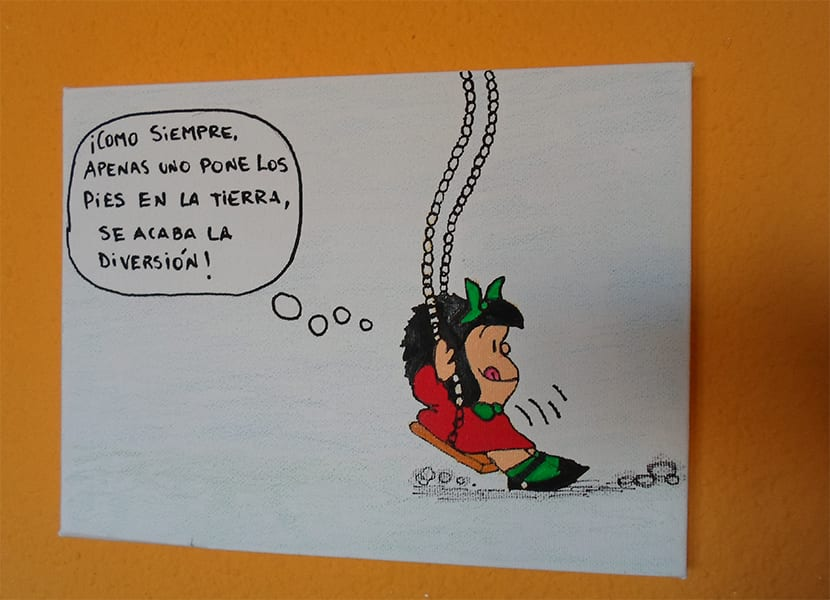 Lienzo pintado a mano personalizado con dibujo de mafalda