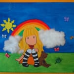 Lienzo pintado a mano con muñequita Gorjuss y arcoiris