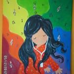 Lienzo pintado a mano con muñequita Gorjuss musical