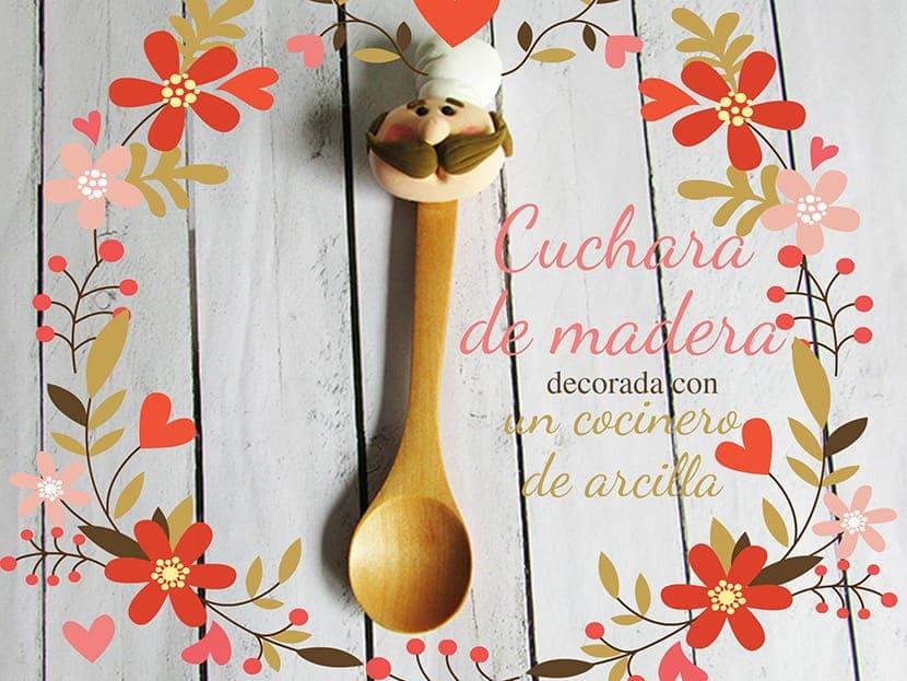 Cuchara decorada con cocinero de arcilla