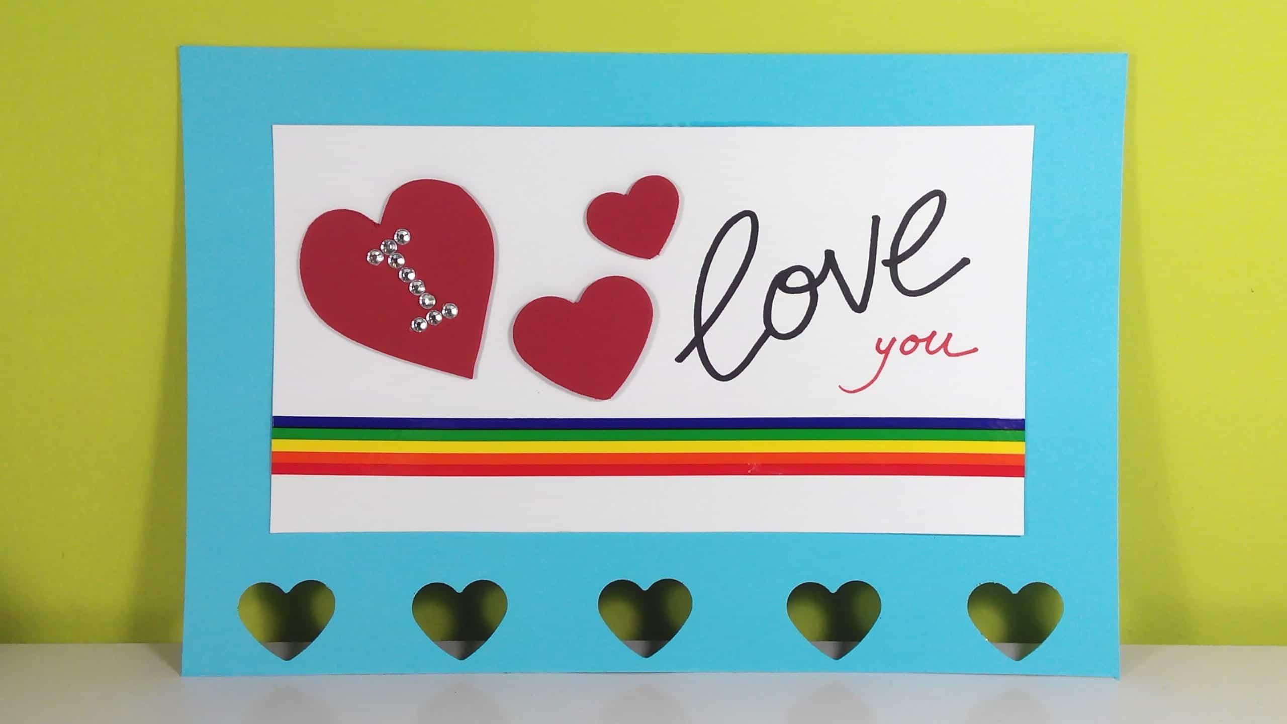 Materiales para tarjeta de San Valentin I love you