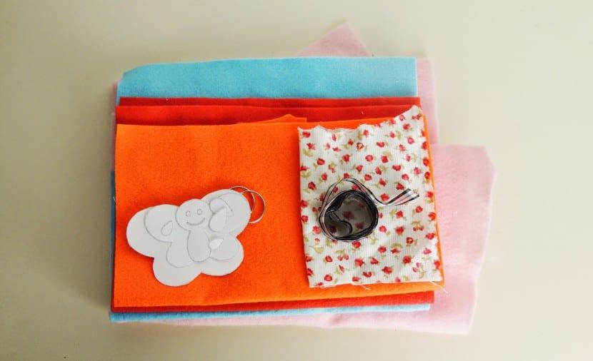 materiales para hacer mariposas de fieltro