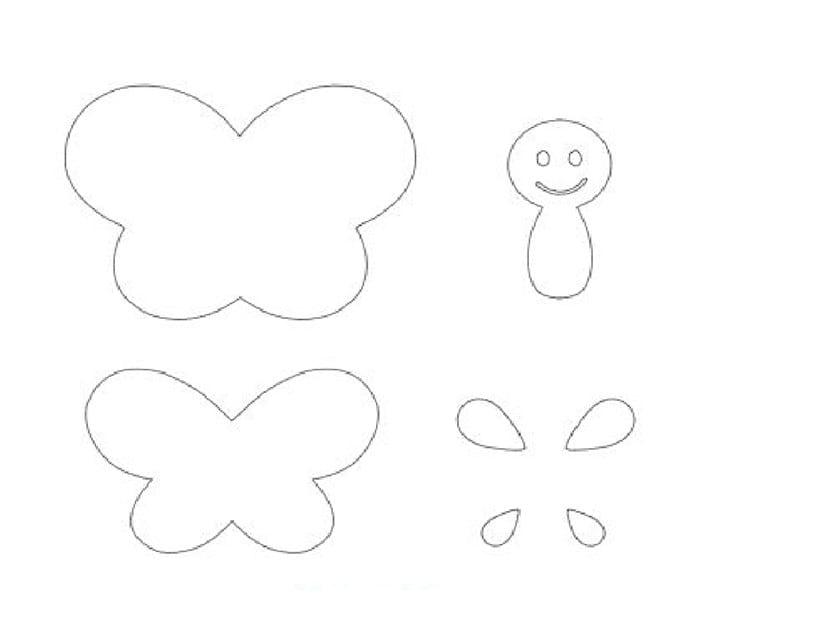molde para hacer mariposas de fieltro