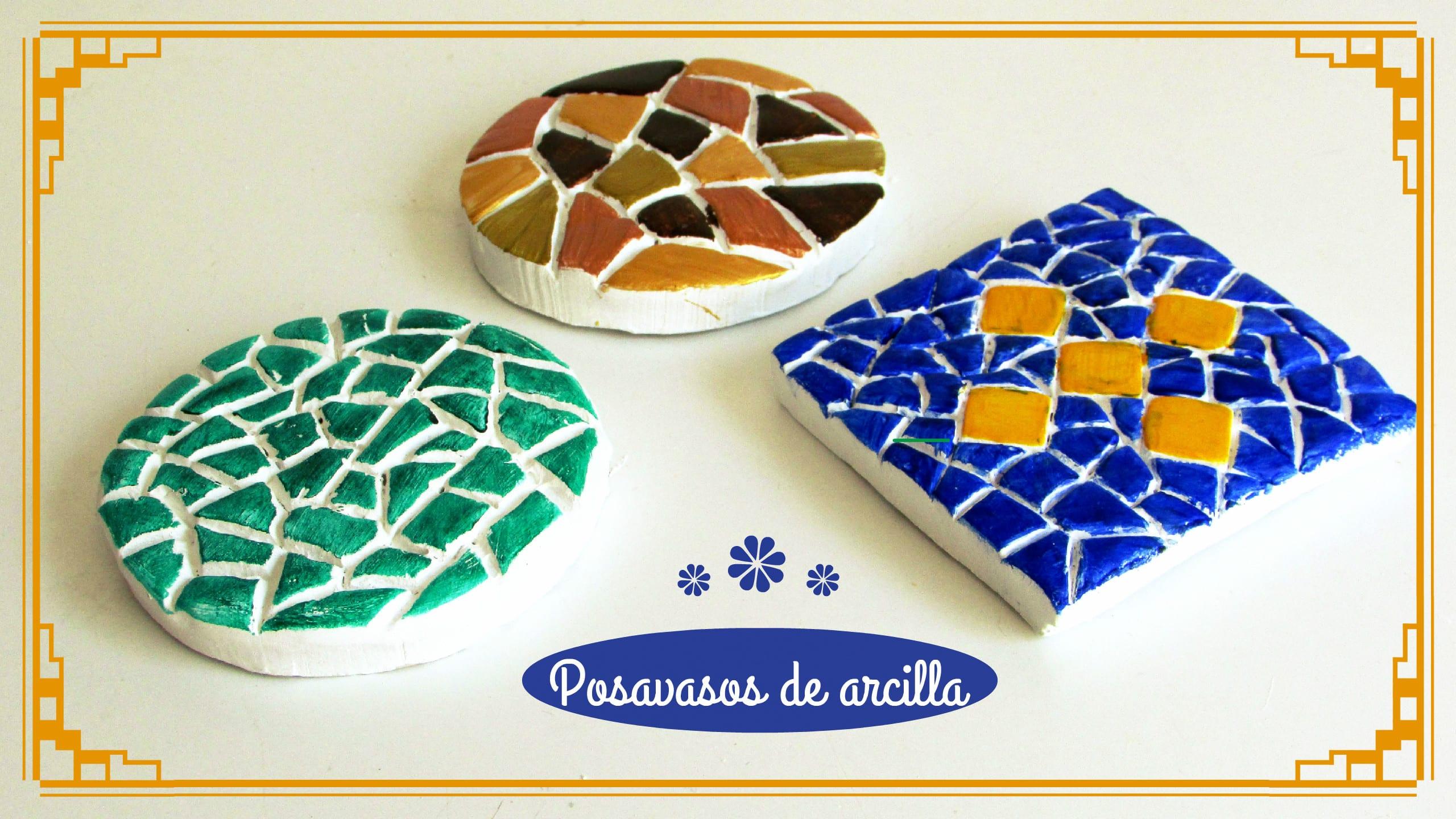 C mo hacer posavasos de arcilla con imitaci n a mosaico - Como hacer posavasos ...