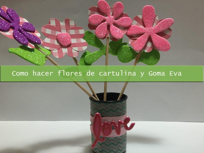 Como hacer flores de cartulina y goma eva