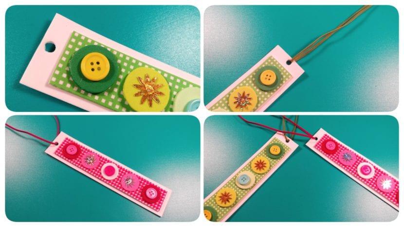 marcapaginas de goma eva y botones infantiles