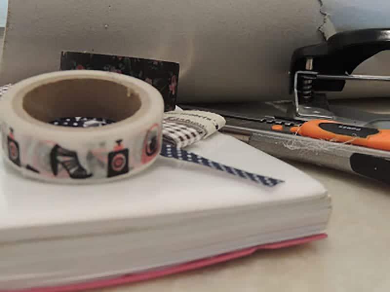 materiales para decorar agendas con washi tape