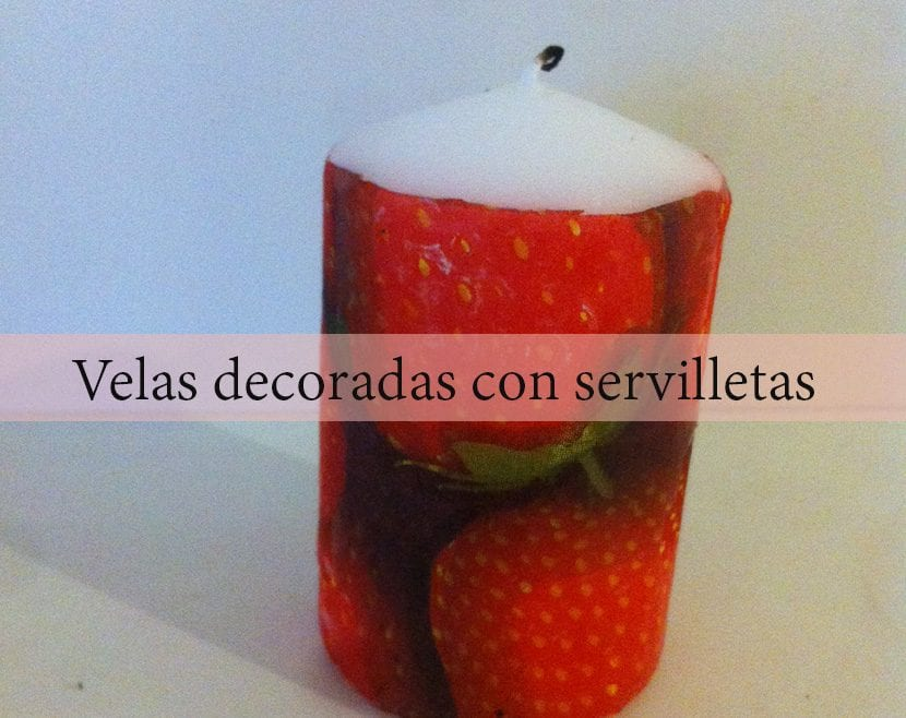 velas decoradas con servilletas