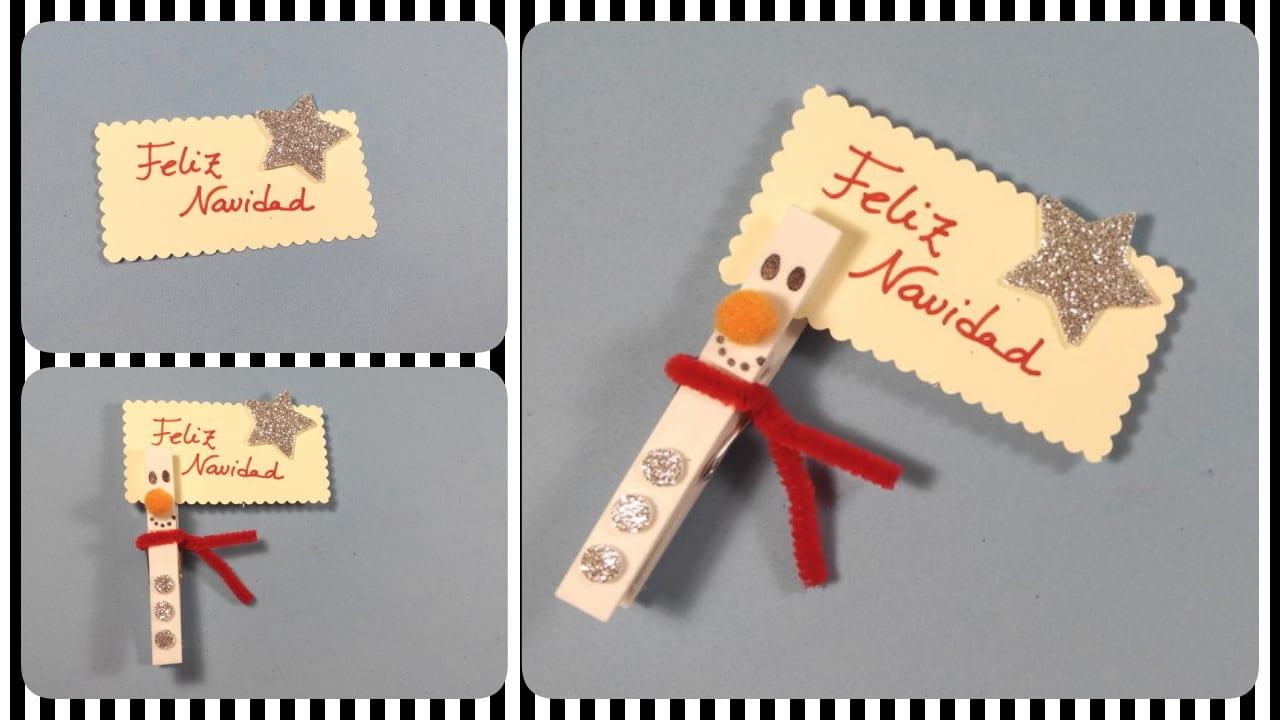 pinza muñeco de nieve navidad