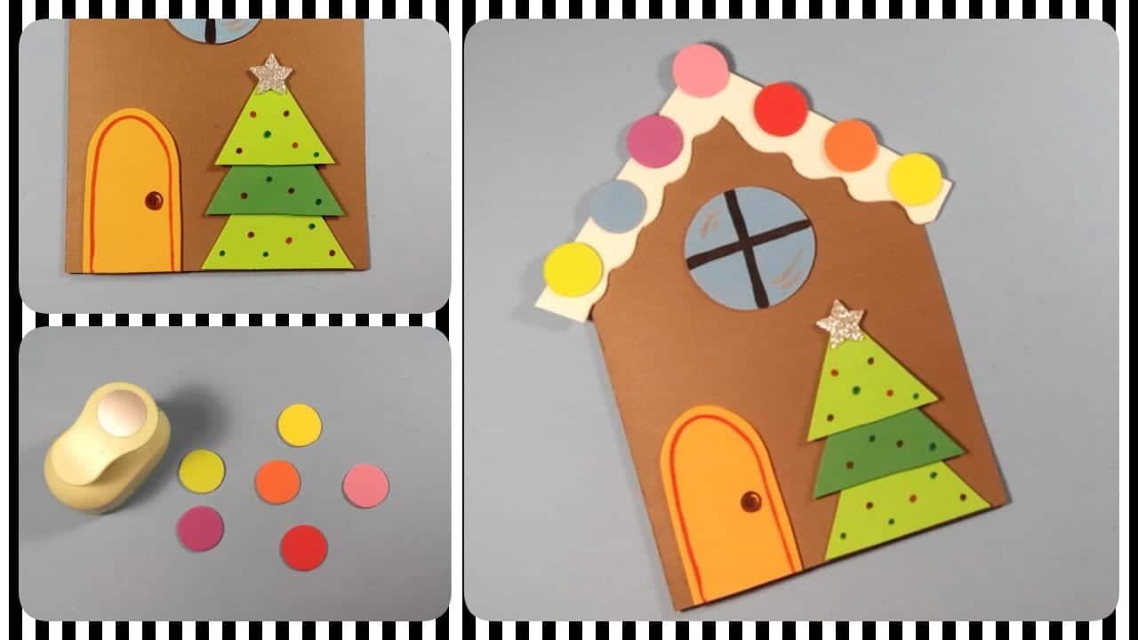 tarjeta de navidad casa de chocolate