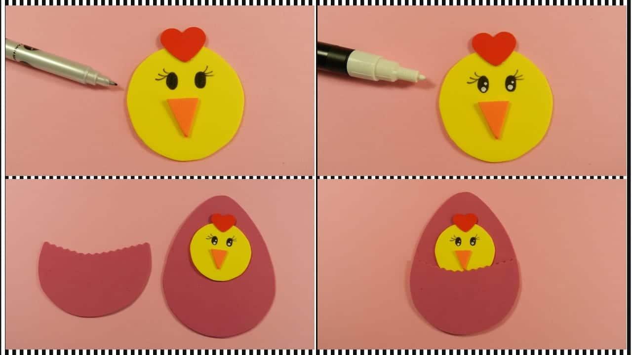 Cómo hacer un huevo de pascua con pollito de goma eva