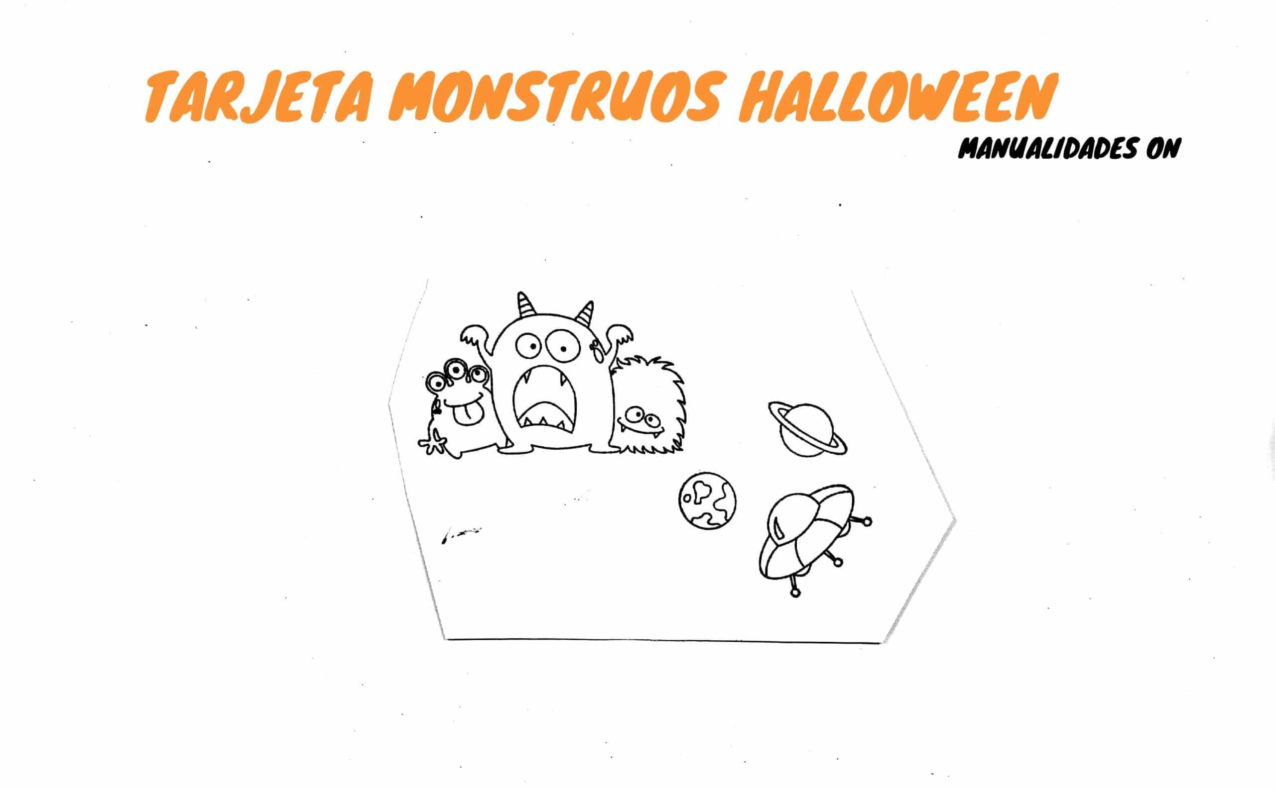 Tarjeta infantil de monstruos para celebrar Halloween