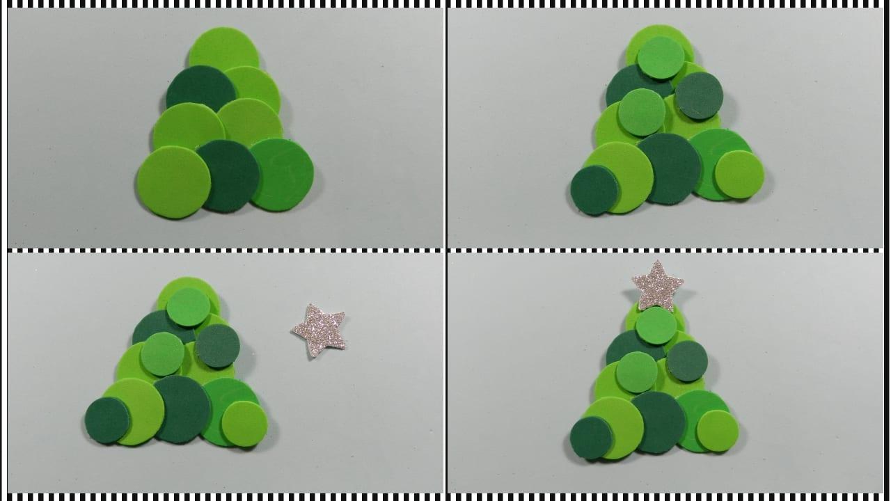 Marcapáginas de árbol de navidad con goma eva para niños