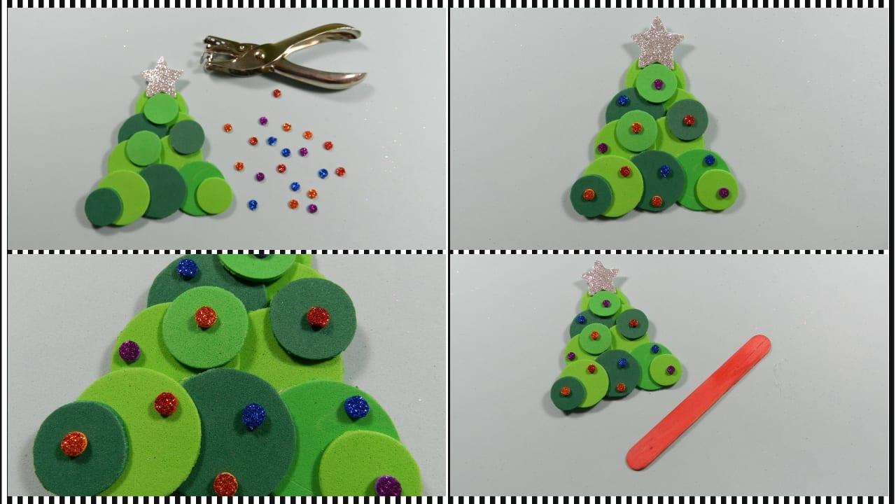 Marcap ginas de rbol de navidad con goma eva para ni os for Arbol navidad infantil