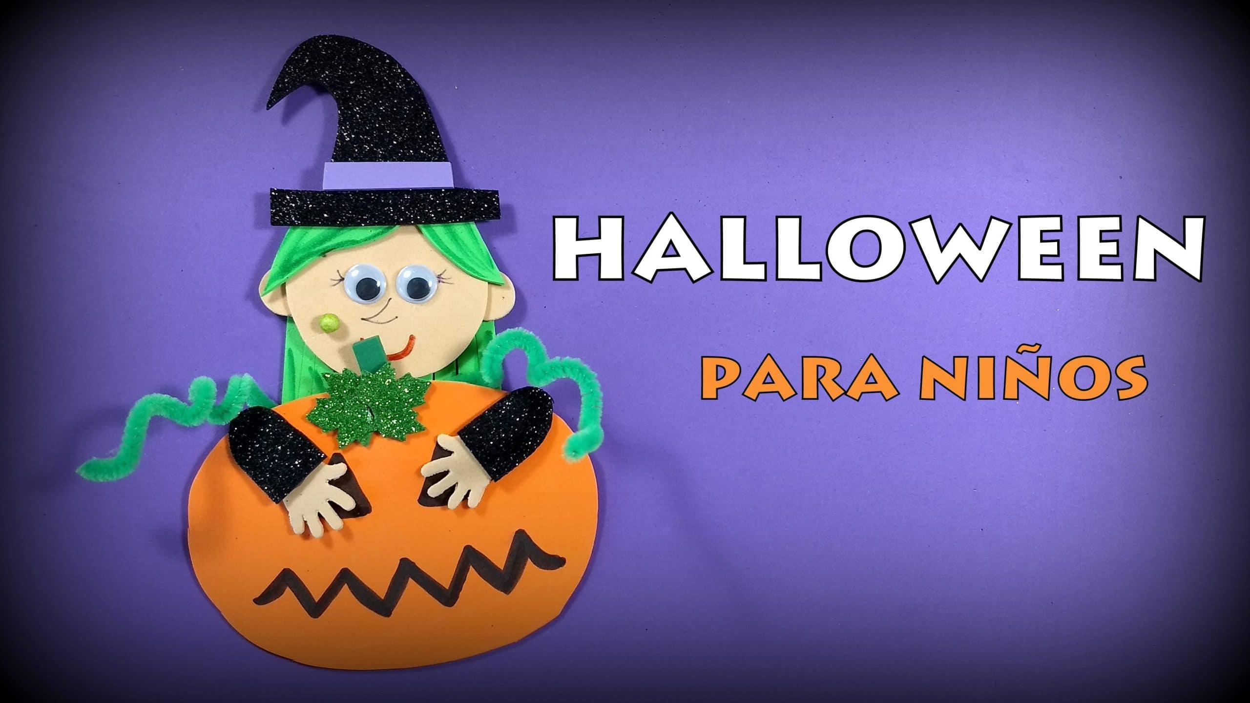 Halloween bruja con calabaza manualidades para hacer con - Calabazas para halloween manualidades ...