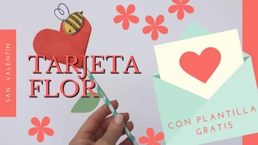 Tarjeta con forma de flor para San Valentín. Incluye la plantilla ...