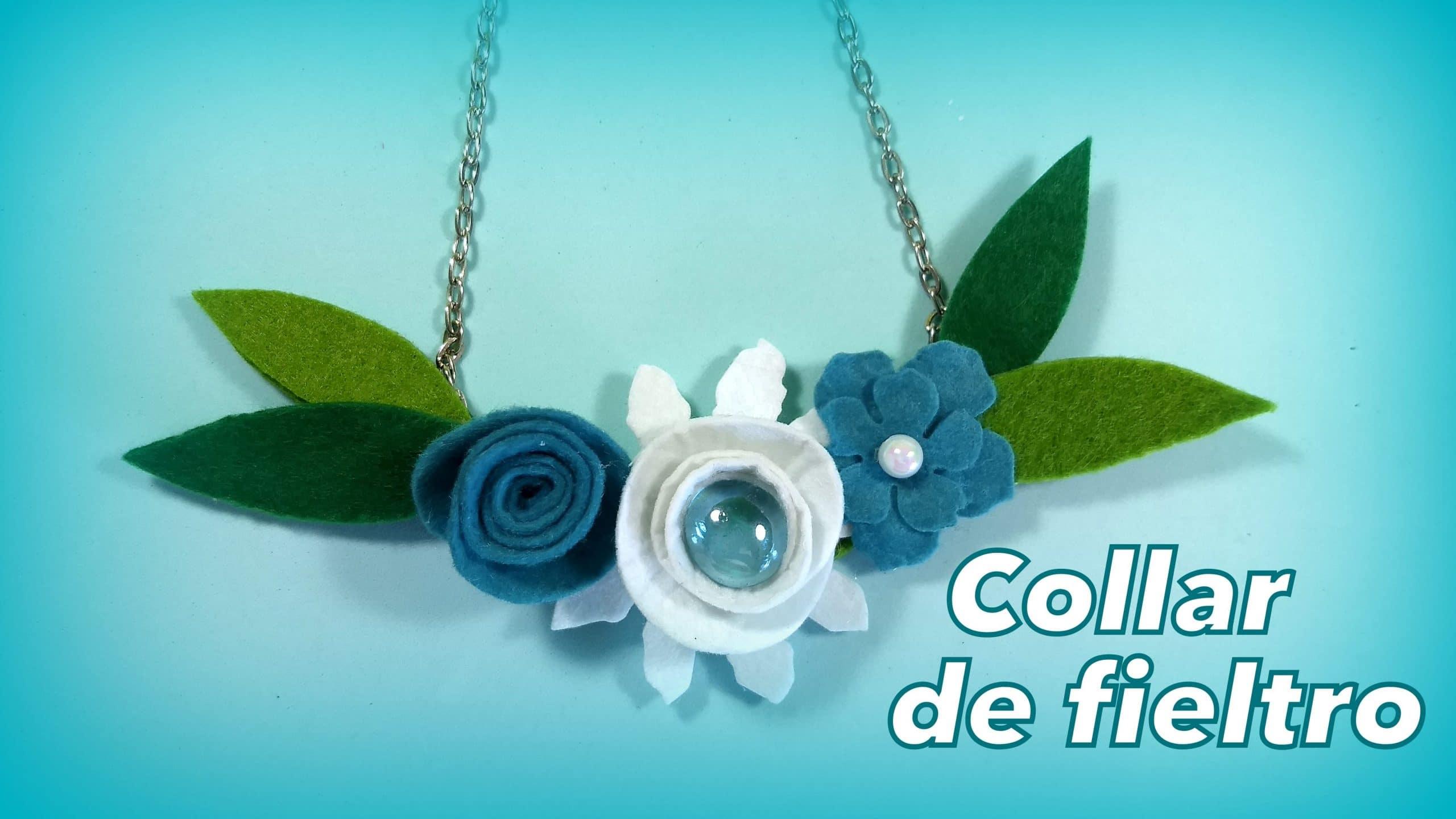 e23d5ce2852f Cómo hacer un collar con flores de fieltro. Bisutería fácil