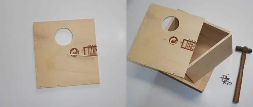 Casita de pájaros con materiales reciclados