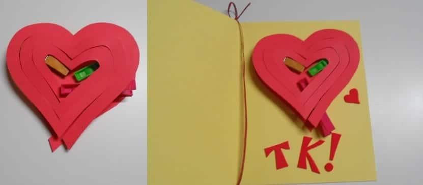 kirigami con forma de corazón