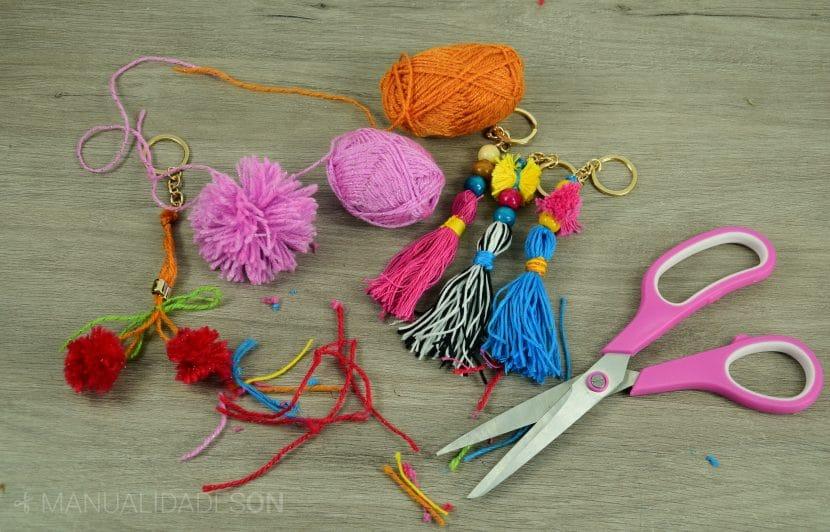 pompones y borlas de lana e hilo