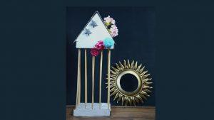 Jaula decorada para adornar mesas